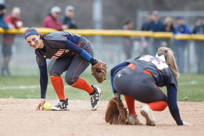 Lyman Hall's Sam Carbone scrambles to field a hit from Sheehan's Nicole Dorsey Wednesday at Pragemann Park in Wallingford April 18, 2018 | Justin Weekes / Special to the Record-Journal