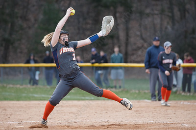 Lyman Hall's Maddie Shura delivers a pitch Wednesday at Pragemann Park in Wallingford April 18, 2018 | Justin Weekes / Special to the Record-Journal