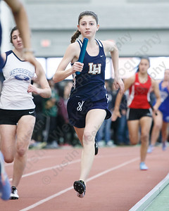 Lyman Hall's Ryleigh Shortell in the 4x200 Thursday at Floyd Little Athletic Center in New Haven February 8, 2018 | Justin Weekes / Special to the Record-Journal