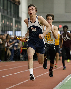 Lyman Hall's Matt Nicefaro in the 4x200 Friday during the CIAC Class M Indoor Track Finals at the Floyd Little Athletic Center in New Haven February 9, 2018 | Justin Weekes / Special to the Record-Journal