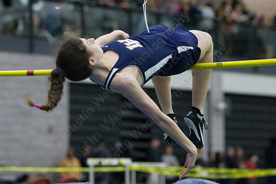 Lyman Hall's Ryleigh Shortell in high jump Friday during the Indoor Track Finals at the Floyd Little Athletic Center in New Haven February 2, 2018 | Justin Weekes / Special to the Record-Journal