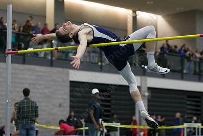Lyman Hall's Tylor Seamans makes an attempt in high jump Friday during the Indoor Track Finals at the Floyd Little Athletic Center in New Haven February 2, 2018 | Justin Weekes / Special to the Record-Journal