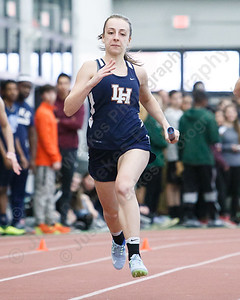 Lyman Hall's Sara Gagnon in the 4x200 Thursday at Floyd Little Athletic Center in New Haven February 8, 2018 | Justin Weekes / Special to the Record-Journal
