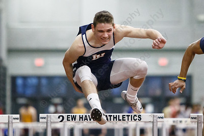 Lyman Hall's Tylor Seamans in 55m hurdles Friday during the CIAC Class M Indoor Track Finals at the Floyd Little Athletic Center in New Haven February 9, 2018 | Justin Weekes / Special to the Record-Journal