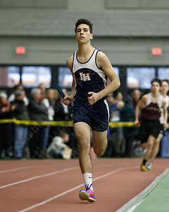 Lyman Hall's Luke Horobin in the 4x800 Friday during the CIAC Class M Indoor Track Finals at the Floyd Little Athletic Center in New Haven February 9, 2018 | Justin Weekes / Special to the Record-Journal