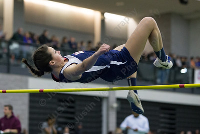 Lyman Hall's Meredith DeNegris in high jump Friday during the Indoor Track Finals at the Floyd Little Athletic Center in New Haven February 2, 2018 | Justin Weekes / Special to the Record-Journal