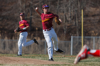 Sheehan's Tyler Daly (11) turns to first to throw out Cheshire's Ryan Pierpont (19) Monday at Sheehan High School in Wallingford  Apr. 13, 2015 | Justin Weekes / For the Record-Journal