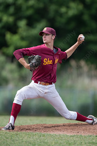 Sheehan's Turner French (15) delivers a pitch Friday at Sheehan High School during the Class M quarter final with Ledyard in Wallingford  Jun. 5, 2015 | Justin Weekes / For the Record-Journal