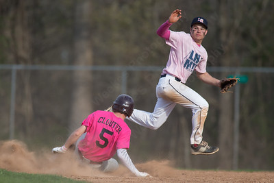Sheehan's Nolan Cloutier slides into second as Lyman Hall's Nick Santello tracks the throw Friday at Pat Wall Field in Wallingford Apr. 22, 2016 | Justin Weekes / For the Record-Journal