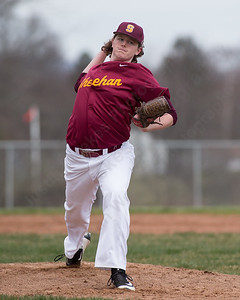Sheehan's James Judenis warms up between innings Monday at Sheehan High School in Wallingford Apr. 11, 2016 | Justin Weekes / For the Record-Journal