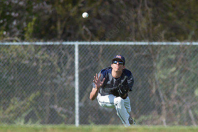 Lyman Hall's Ron Chasse dives for a fly ball from Sheehan's Mark Devince Monday at Neubauer Field in Wallingford May. 9, 2016 | Justin Weekes / For the Record-Journal