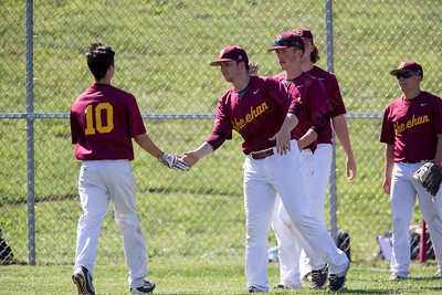 Sheehan's Steven Mirra gets congratulations from teammates after scoring Tuesday at Neubauer Field in Wallingford May. 31, 2016 | Justin Weekes / For the Record-Journal