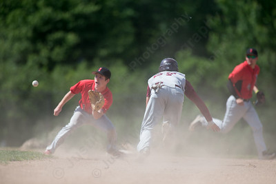 Sheehan's Sal Gozzo tries for second as Northwestern's Garrett Healey is there for the tag Tuesday during the CIAC class M semi final at Zipadelli Field in Berlin Jun. 7, 2016 | Justin Weekes / For the Record-Journal