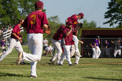 Sheehan celebrates beating North Branford 4 to 3 Tuesday at Neubauer Field in Wallingford May. 31, 2016 | Justin Weekes / For the Record-Journal