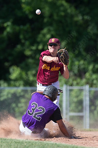 Sheehan's second baseman Jake Gawlak tries to turn the double play after the force out on North Branford's Matt Chamberlain Tuesday at Neubauer Field in Wallingford May. 31, 2016 | Justin Weekes / For the Record-Journal
