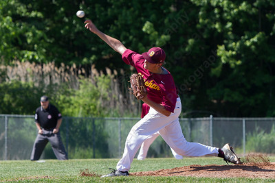 Sheehan's starter Griffin Andrews delivers a pitch in the second inning with Tuesday at Neubauer Field in Wallingford May. 31, 2016 | Justin Weekes / For the Record-Journal