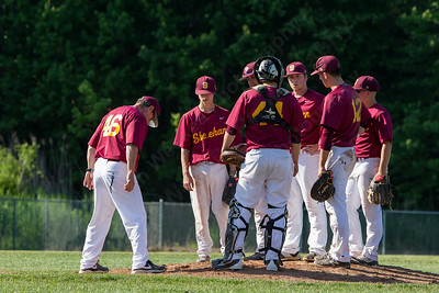 Sheehan's head coach Matt Altieri calls a time out holding on to a one run lead with North Branford Tuesday at Neubauer Field in Wallingford May. 31, 2016 | Justin Weekes / For the Record-Journal