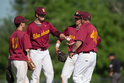 Sheehan's head coach Matt Altieri makes another pitching change in the final inning retiring Tim Doty Tuesday at Neubauer Field in Wallingford May. 31, 2016 | Justin Weekes / For the Record-Journal