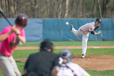 Lyman Hall's Brendan O'Connell delivers a pitch Friday at Pat Wall Field in Wallingford Apr. 22, 2016 | Justin Weekes / For the Record-Journal