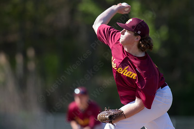 Sheehan's James Judenis delivers a pitch in a game with Amity Wednesday at Neubauer Field in Wallingford May. 11, 2016 | Justin Weekes / For the Record-Journal