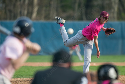 Sheehan's Griffin Andrews delivers a pitch to Lyman Hall's Blake Battiste  Friday at Pat Wall Field in Wallingford Apr. 22, 2016 | Justin Weekes / For the Record-Journal