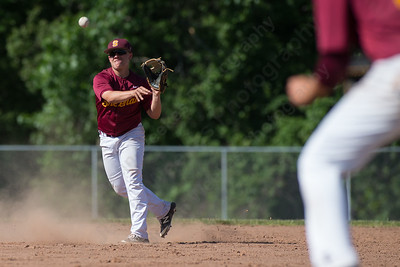 Sheehan's second baseman Jake Gawlak throws to first to get North Branford's Jeffrey Jablonski after fielding a ground ball Tuesday at Neubauer Field in Wallingford May. 31, 2016 | Justin Weekes / For the Record-Journal