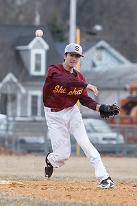 Sheehan's Joseph Amarone makes the throw to first Thursday at Westside Field in Wallingford April 5, 2018 | Justin Weekes / Special to the Record-Journal