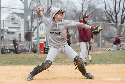 Sheehan's Tyler Ekstrom throws to second in infield warm ups Tuesday during a pre-season scrimmage with Notre Dame West Haven at West Side Field in Wallingford  March 20, 2018 | Justin Weekes / Special to the Record-Journal