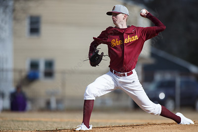 Sheehan's Kevin Vining delivers a pitch Thursday at Westside Field in Wallingford April 5, 2018 | Justin Weekes / Special to the Record-Journal