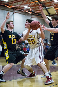 Sheehan's Eli Dyer (20) works the low post Monday at Sheehan High School in Wallingford Dec. 21, 2015 | Justin Weekes / For the Record-Journal