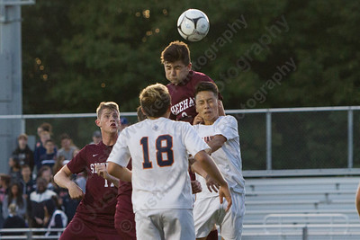 Sheehan's Tyler Jasinski gets a header on goal off a corner kick Tuesday at Lyman Hall High School in Wallingford October 3, 2017 | Justin Weekes / For the Record-Journal