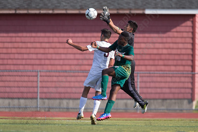 Sheehan's keeper Nicolas Trivino comes out to play a Hamden cross Monday at Riccitelli Field on the Sheehan High School Campus in Wallingford September 11, 2017 | Justin Weekes / For the Record-Journal
