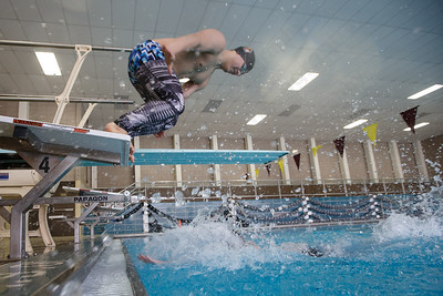 Sheehan's RJ Zellner touches the wall as Alex Boman leaves the starting block Friday at Sheehan High School Natatorium in Wallingford March 16, 2018   Justin Weekes / Special to the Record-Journal