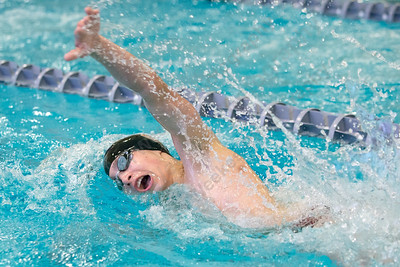 Sheehan's Adam DiDomenico in the 200 medley relay Tuesday at Sheehan High School Pool in Wallingford January 2, 2018 | Justin Weekes / Special to the Record-Journal