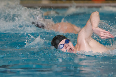 Sheehan's Robert Sweet swims a set during a final practice Friday at Sheehan High School Natatorium in Wallingford March 16, 2018   Justin Weekes / Special to the Record-Journal