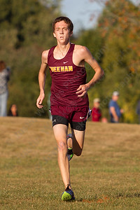 Sheehan's Stephen Fengler finished first for the Titans Tuesday during the Neubauer Invitational at Sheehan High School in Wallingford October 3, 2017 | Justin Weekes / For the Record-Journal