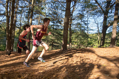 Sheehan's Stephen Fengler and Lyman Hall's Brian Oliveira attack the hill Thursday at Wharton Brook State Park in North Haven October 12, 2017 | Justin Weekes / For the Record-Journal
