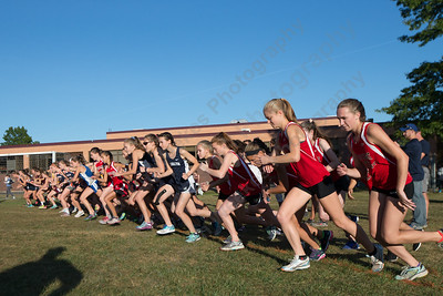 The start of the girls varsity race Tuesday during the Neubauer Invitational at Sheehan High School in Wallingford October 3, 2017 | Justin Weekes / For the Record-Journal