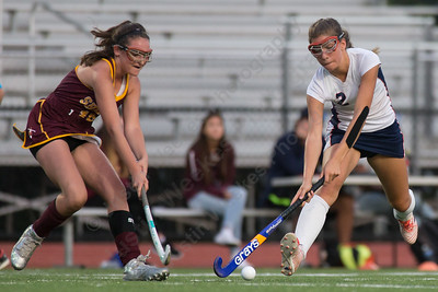 Lyman Hall's Megan Hosking gets past a Sheehan defender Tuesday at Lyman Hall High School in Wallingford September 12, 2017 | Justin Weekes / For the Record-Journal