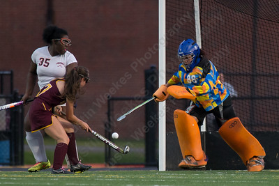 Lyman Hall's goalie Maddie Torre stops a shot from Sheehan's Stephanie Phoenix Tuesday at Lyman Hall High School in Wallingford September 12, 2017 | Justin Weekes / For the Record-Journal