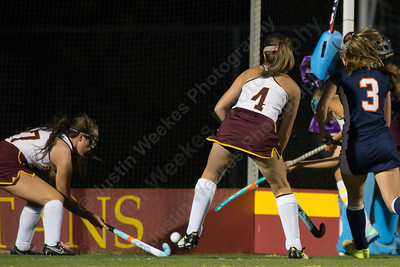 Sheehan's Stephanie Phoenix gets a rebound for her first goal of the night Wednesday at Riccitelli Field on the campus of Sheehan High School in Wallingford October 4, 2017 | Justin Weekes / For the Record-Journal