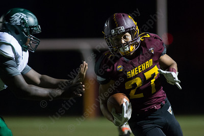 Sheehan's Jordan Davis returns an interception Friday at Riccitelli Field on the campus of Sheehan High School in Wallingford November 3, 2017 | Justin Weekes / For the Record-Journal