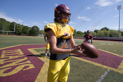 Sheehan's Wes Terzi warms up for offensive practice Wednesday at Riccitelli Field in Wallingford Aug. 23, 2017 | Justin Weekes / For the Record-Journal