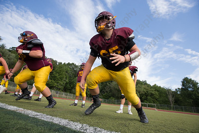 Sheehan's Luke Willette runs defensive line drills Wednesday at Riccitelli Field in Wallingford Aug. 23, 2017 | Justin Weekes / For the Record-Journal