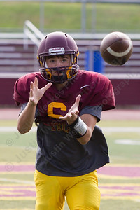 Sheehan's Jake Smith catches a pass during practice Wednesday at Riccitelli Field in Wallingford Aug. 23, 2017 | Justin Weekes / For the Record-Journal