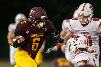 Sheehan's Jake Smith Friday at Riccitelli Field on the campus of Sheehan High School in Wallingford September 28, 2018   Justin Weekes / Special to the Record-Journal