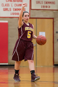Sheehan's Alexia Ocasio calls a play Wednesday at Cheshire High School in Cheshire Feb. 3, 2016 | Justin Weekes / For the Record-Journal