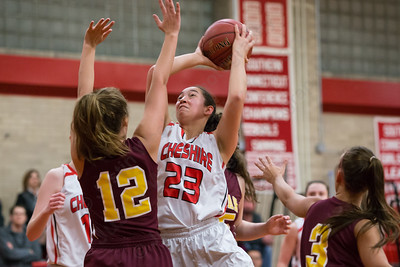 Cheshire's Nillie Burton puts up a shot as Sheehan's Cassie Strickland Wednesday at Cheshire High School in Cheshire Feb. 3, 2016 | Justin Weekes / For the Record-Journal