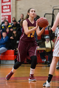 Sheehan's Olivia Robles gets some space in the lane Wednesday at Cheshire High School in Cheshire Feb. 3, 2016 | Justin Weekes / For the Record-Journal
