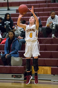 Sheehan's Mackenzie Hemstock puts up a three point shot Friday at Sheehan High School in Wallingford December 29, 2017 | Justin Weekes / Special to the Record-Journal
